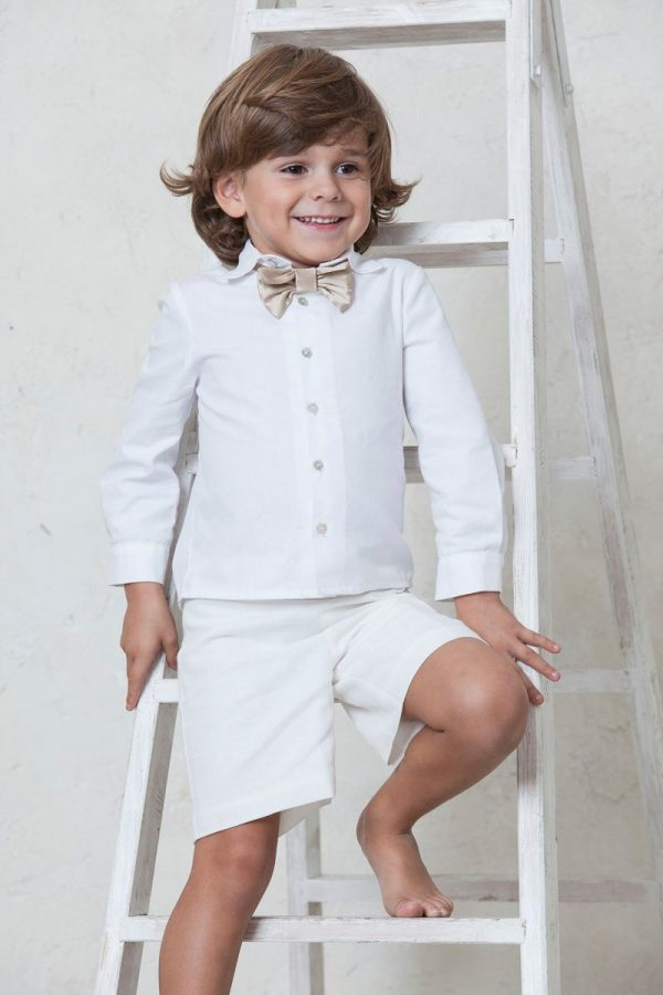 camisa blanca manga larga de ceremonia para niño