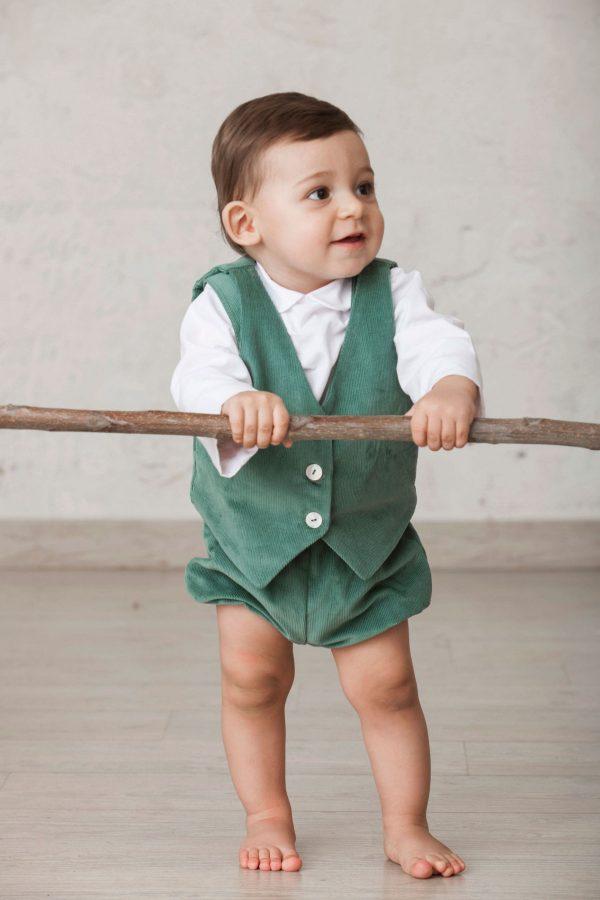 chaleco de pana de ceremonia para bebés