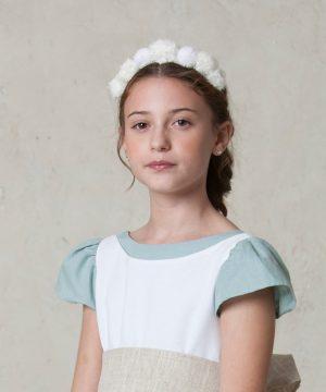 tocado blanco de niña para ceremonia