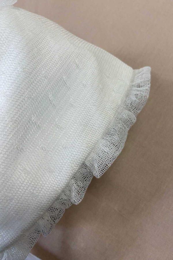 capota de bautizo de tul plumeti blanco