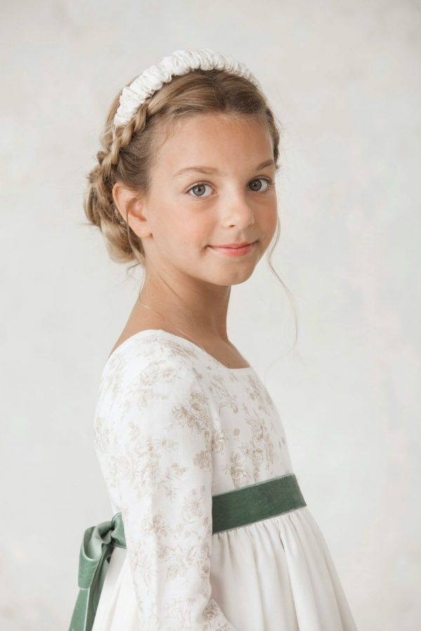 fajín de terciopelo verde para vestidos de primera comunión de invierno