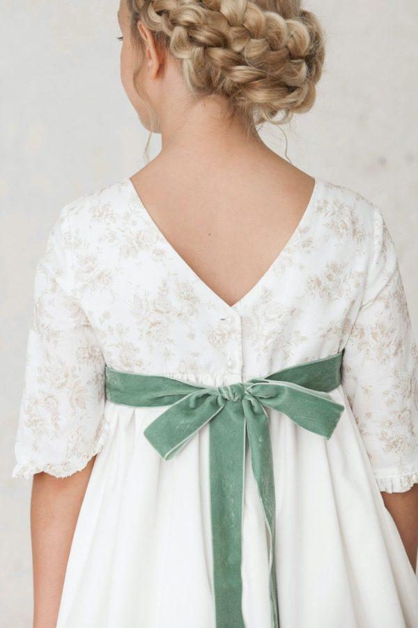 fajín de lazo de terciopelo verde para vestidos de primera comunión de invierno
