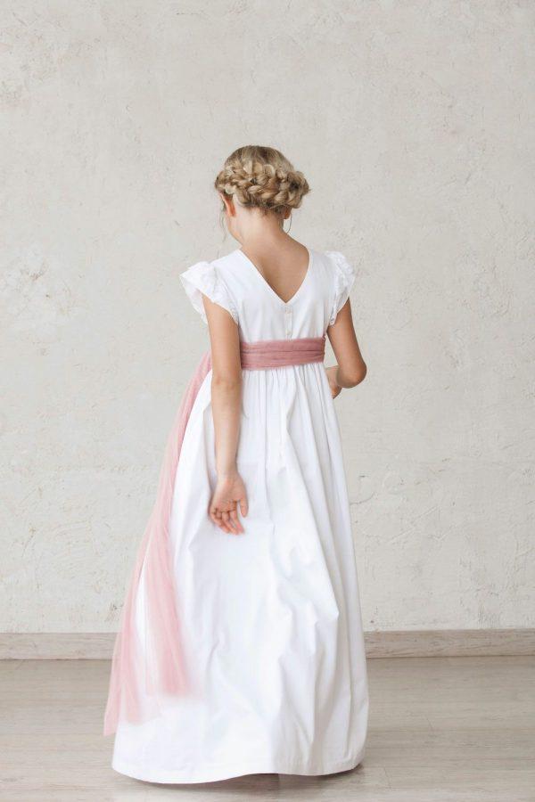 vestido de comunión de niña con manga cuchara de puntilla