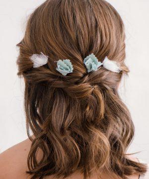 Horquillas de pelo de flores verde para niña