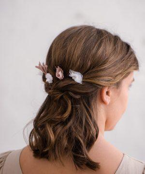 Horquillas de pelo de flores rosas para niña