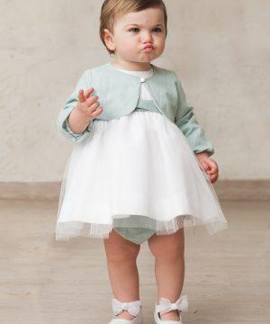 bolero de bebé para niña de ceremonia en verde agua