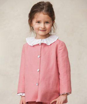 chaqueta rosa de ceremonia de niña
