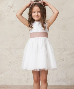 vestido blanco de niña de ceremonia en tul